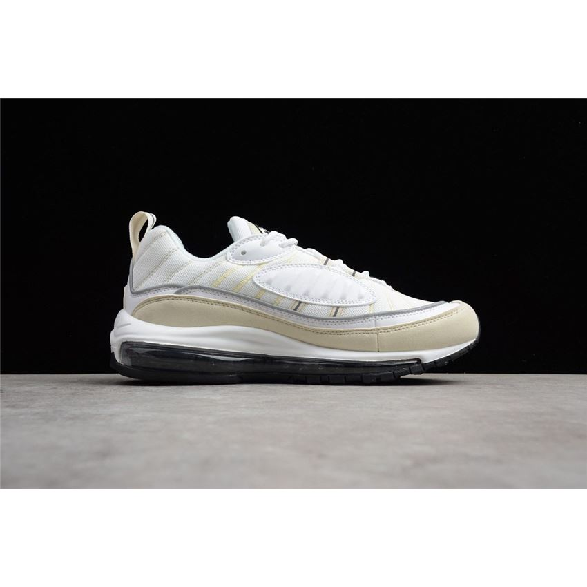 Mens and WMNS Nike Air Max 98 Sail WhiteBlack Fossil